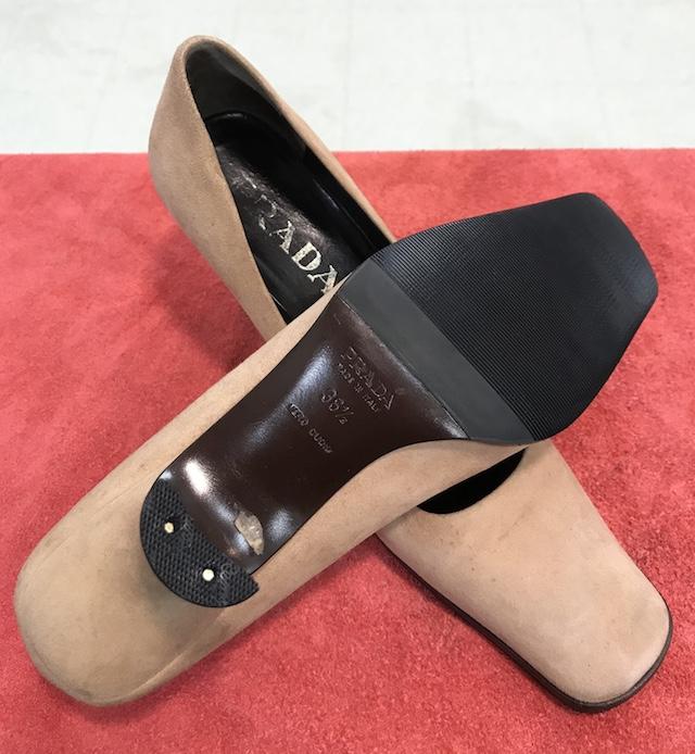 【PRADA】かかとゴム交換・靴底補強