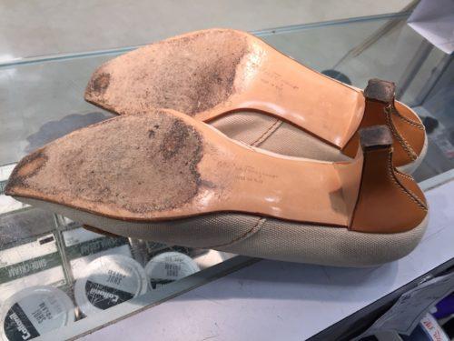 フェラガモ靴底補強前