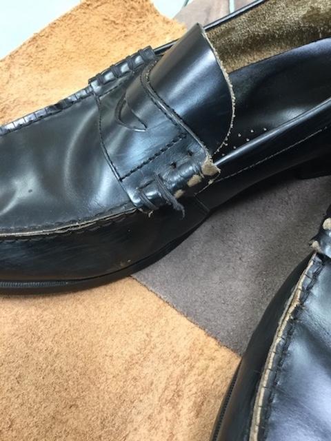 学生靴ほつれ修理前1