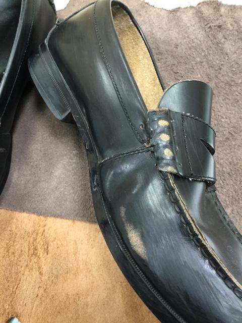 学生靴ほつれ修理前2