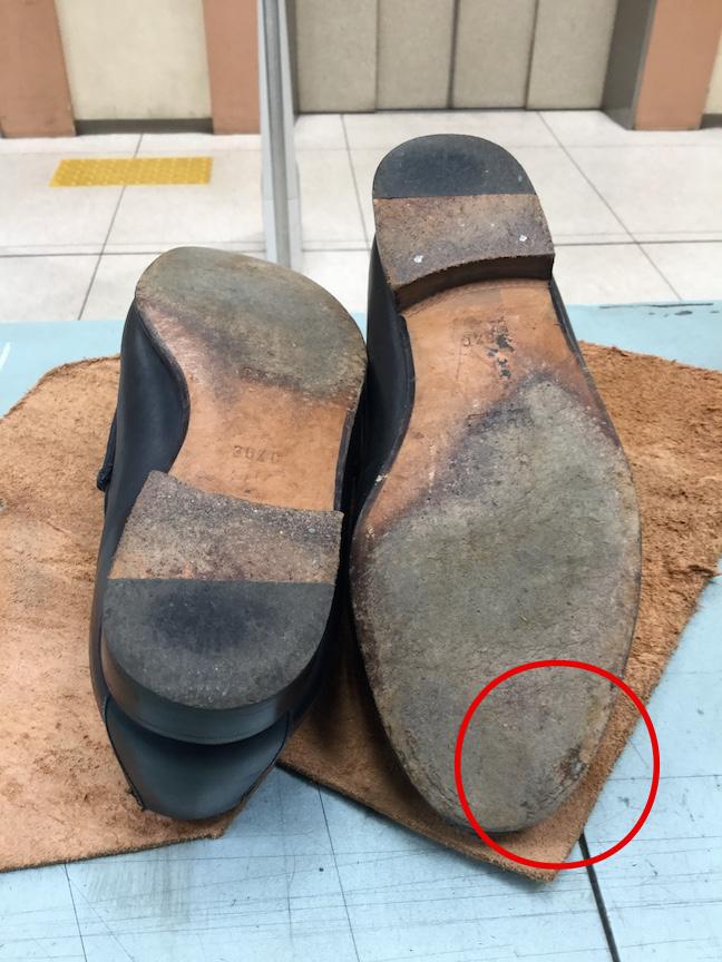 グッチ靴底修理前2