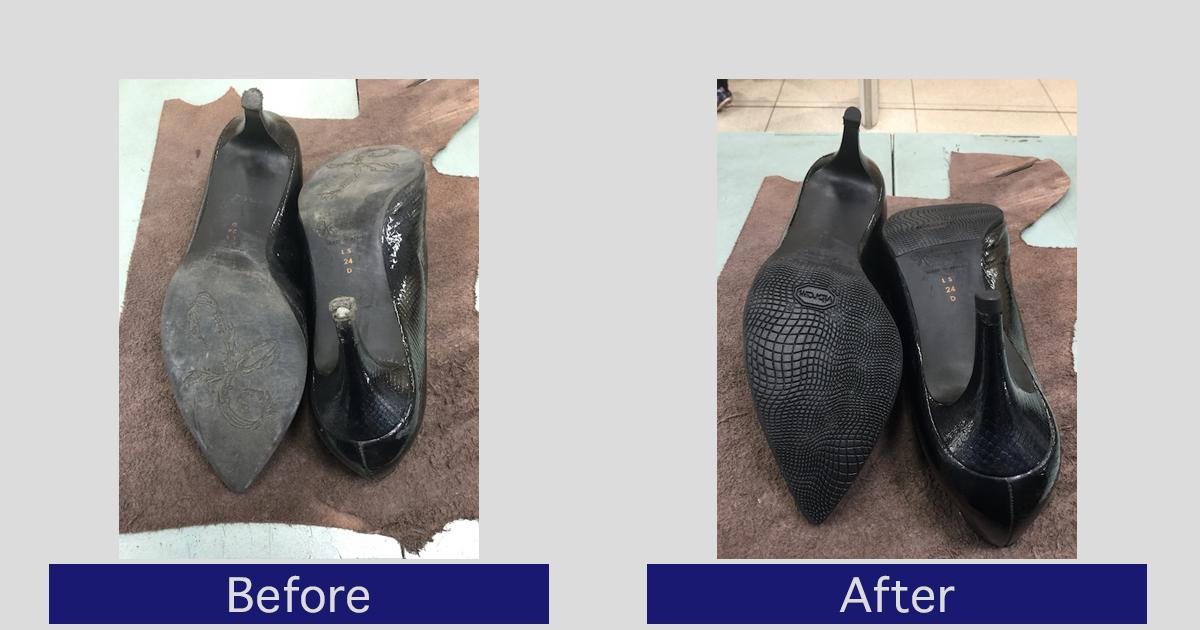 【銀座かねまつ】かかと修理・靴底補強