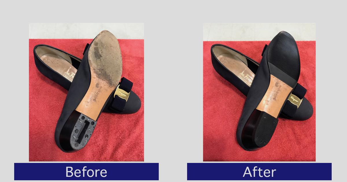フェラガモ靴底・かかと修理事例