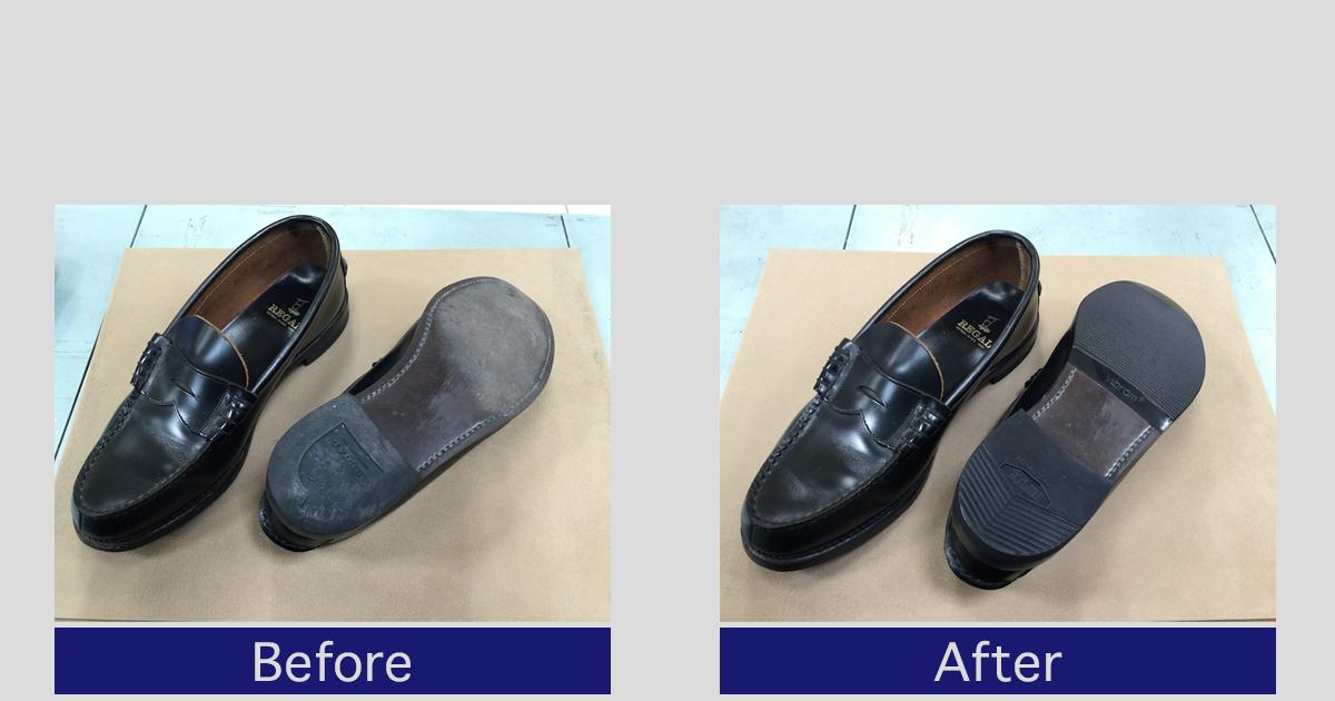 【リーガル】ローファーかかと修理・靴底補強